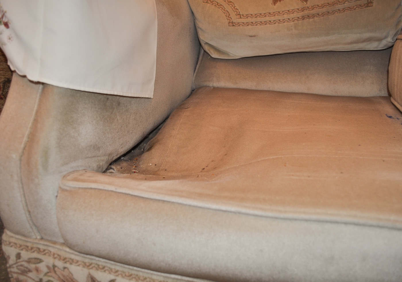 Fabric Sofa Cushion Repair Before