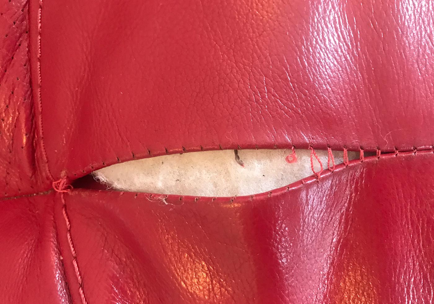 burst leather stitching