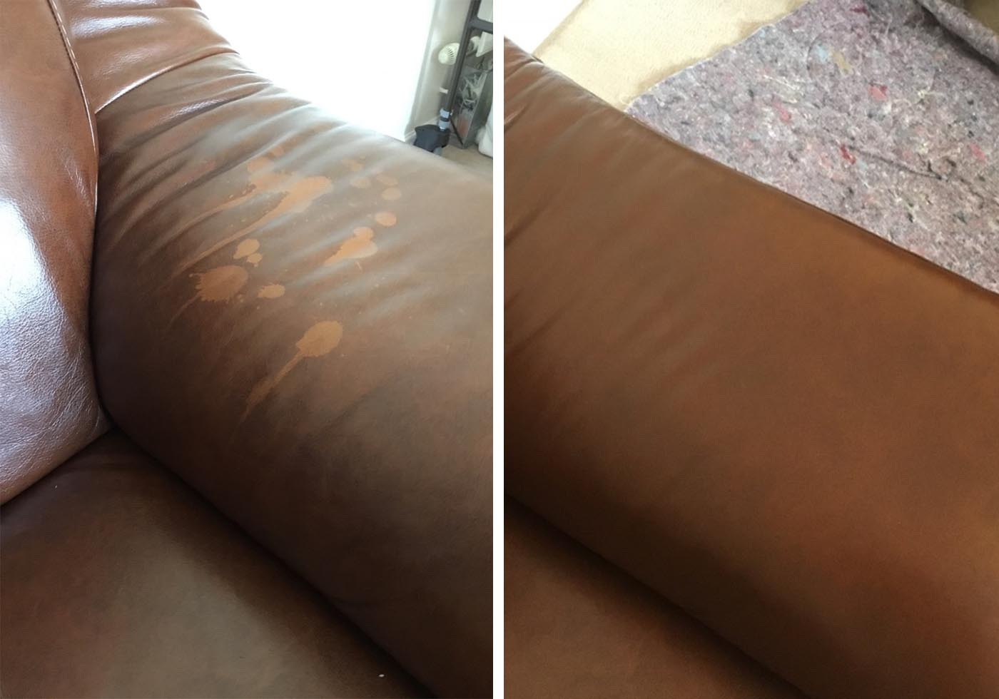 marks on leather sofa repaired