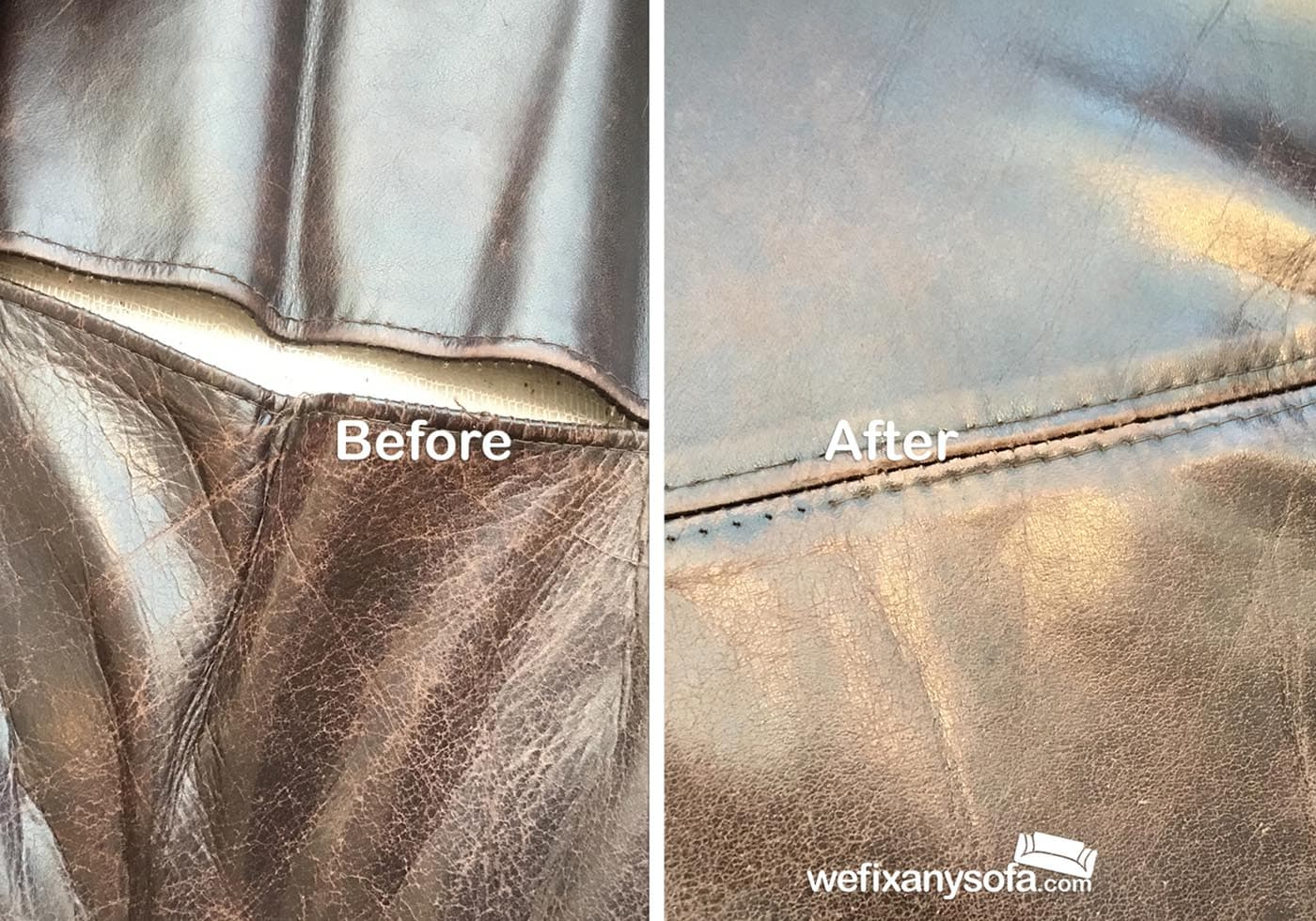 Leather seam stitching repair