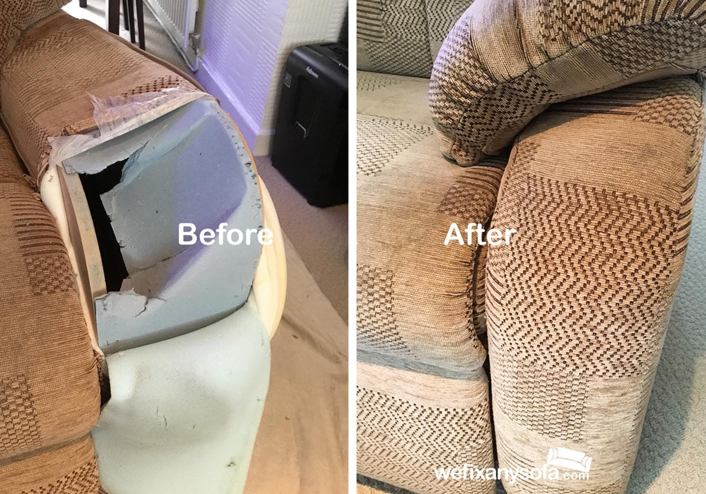 Recliner chair arm fabric repair