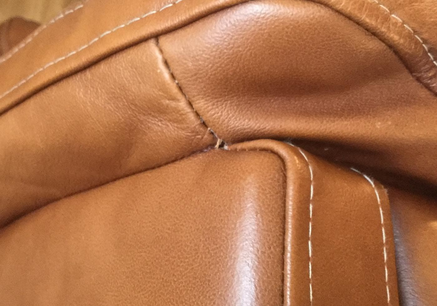Leather chair stitching repair