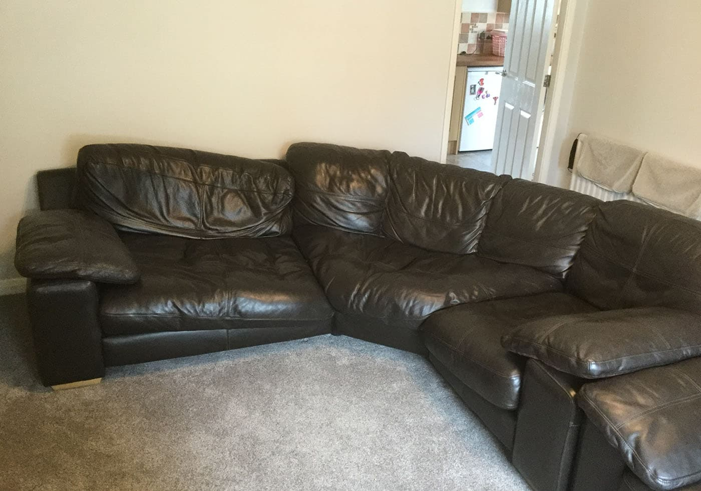 black leather sofa cushions soft and frame broken